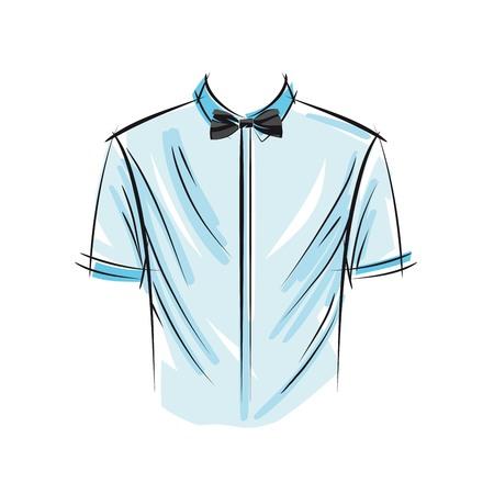 El blanco sirve la camisa y la mariposa, ilustración del vector.