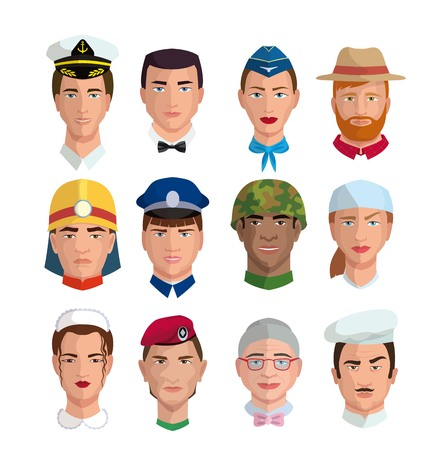People and professions. Colored characters
