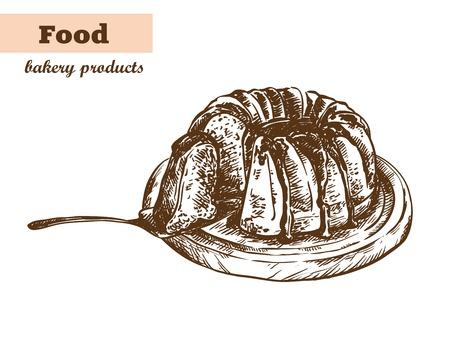 fruitcakes: Fruitcake with jam. homemade baking. bakery products. vector sketch on white