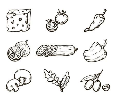 Prodotti alimentari. Ingredienti per la pizza Set di disegni vettoriali su sfondo bianco Archivio Fotografico - 81373640