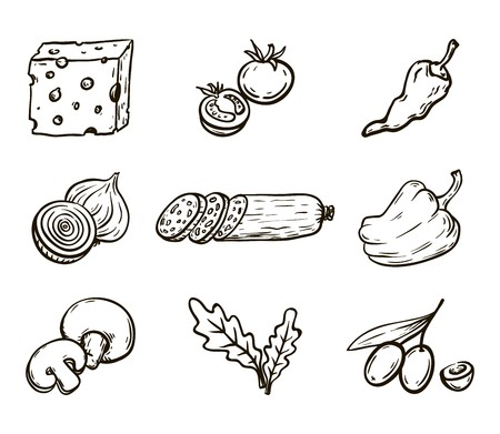 Foodstuffs. Ingredients for pizza. Set of vector sketches on white background