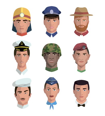 infantryman: People and professions. Colored vector characters on white background Illustration