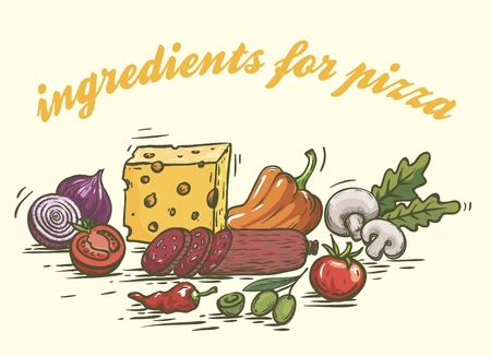 Foodstuffs. Ingredients for pizza. Set of color sketches on white Illustration