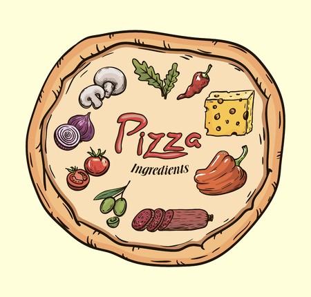 foodstuffs: Foodstuffs. Ingredients for pizza. Color vector illustration on beige Illustration