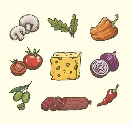 produits alimentaires: Denrées alimentaires. Ingrédients pour pizza Ensemble de croquis de couleur sur blanc
