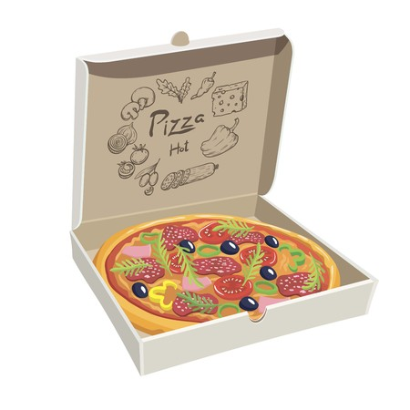 europe closeup: Pizza with mushrooms, tomato and olives in a box