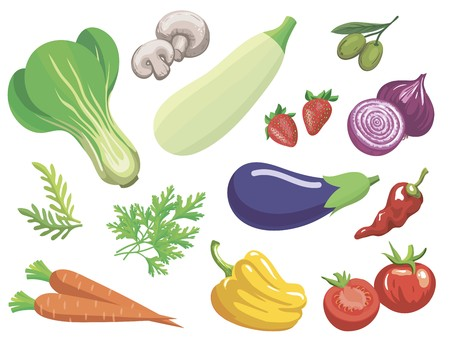 Vegetables. Set of simple color illustrations on a white background