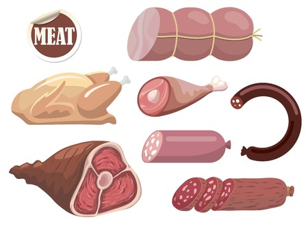 自然な肉製品。  イラスト・ベクター素材