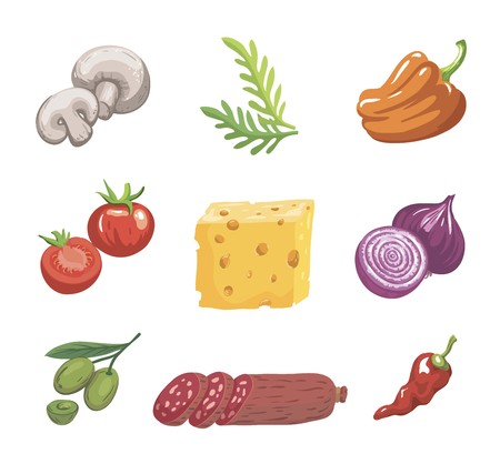 Foodstuffs. Ingredients for pizza. Set of color sketches on white Ilustrace