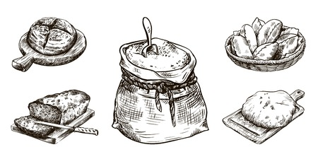 sack of flour and fresh bakery products. homemade baking. bakery products. vector sketch on white Illustration