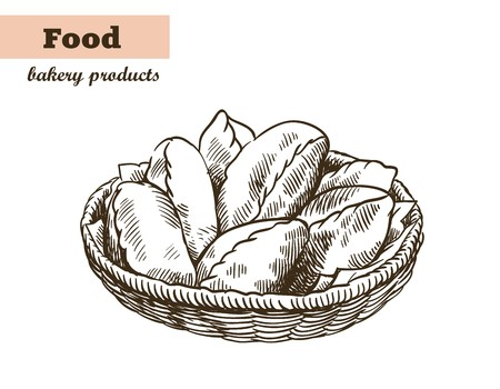 patisserie: Homemade pies vector sketch on white