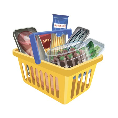 Plastic shopping basket with food on white background. Color vector illustration