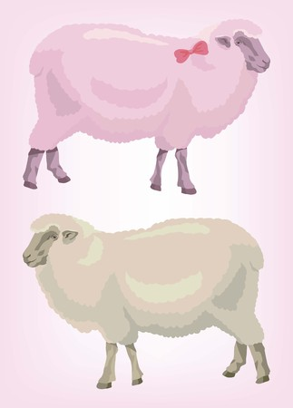 A two sheep. pink and beige. animal husbandry. color vector illustration Illustration