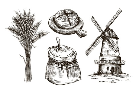 homemade bread: sack of flour, windmill and fresh bakery products. homemade baking. bakery products. vector sketches on white Illustration