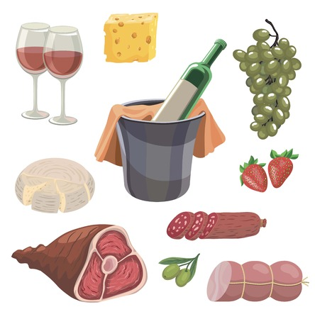 foodstuffs. set of colored vector icons on a white