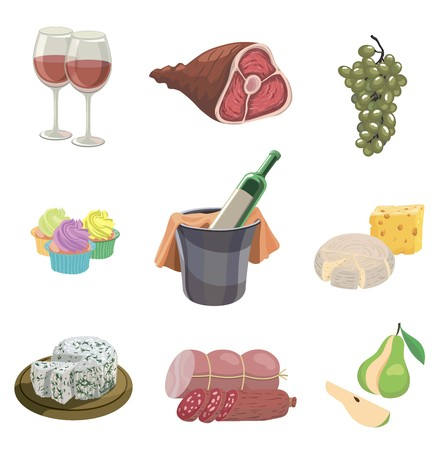 A foodstuffs set of colored vector icons on a white illustration.