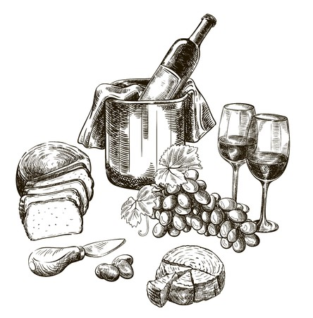 A red wine bottle and snacks. set of vector sketches on white illustration.