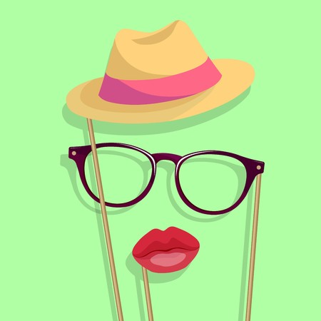 Props for the photo. lips, glasses, hat.