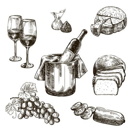 Red wine bottle and snacks. set of vector sketches on white background Illustration