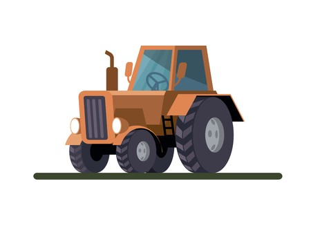 Wheel agricultural tractor. Colored vector illustration on white background Иллюстрация