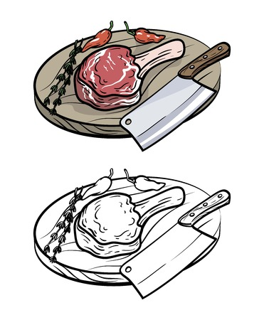 A meat on bone, knife and spices. vector illustration on white Çizim