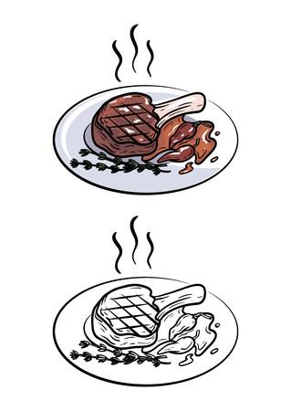 Pork on the bone. 向量圖像