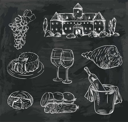 winemaking. set of vector sketches on black