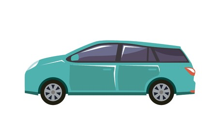 vectorial image of car in blue with tinted windows Illusztráció