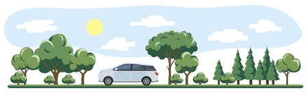 rides the road past the trees in summer Illustration