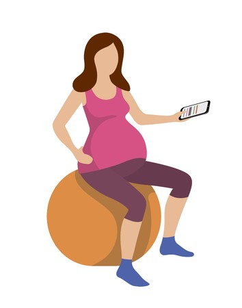 pregnant woman is exercising on a gym ball with a phone in her hand Ilustrace