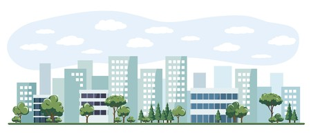 Vector illustration of a city with tall buildings and trees