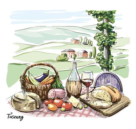 Fromage, vin, pain et légumes sur une table avec vue sur les montagnes Vecteurs