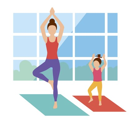 Mom and daughter are engaged in a yoga room Ilustrace