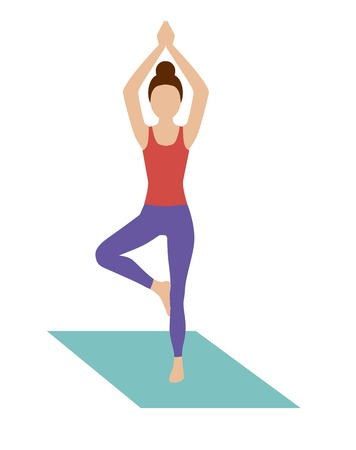 woman practicing yoga in the tree poses on the rug Illustration