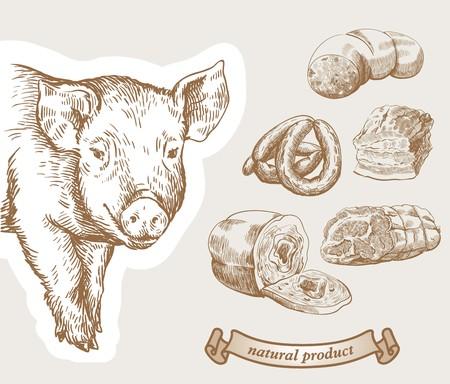 Dibuja el cerdo. Productos de carne de cerdo con la inscripción.