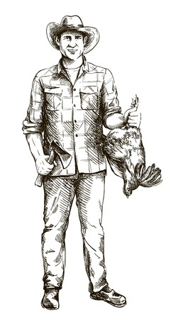 farmer in a hat holds a chicken and an axe