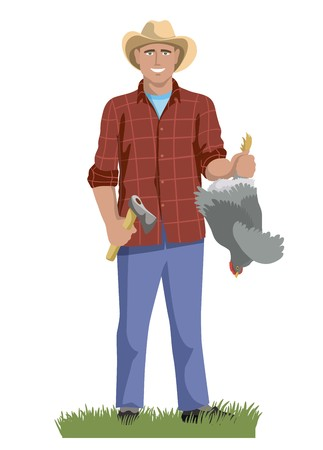 a man stands and holds a chicken by his feet
