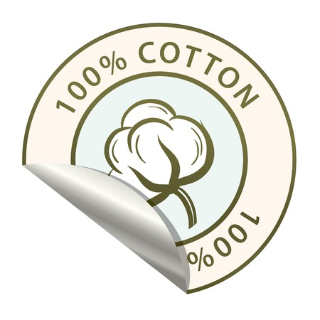 Sticker with the image of the cotton vector illustration Ilustração