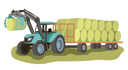 tractor with loader and bales of hay on the cart Ilustração