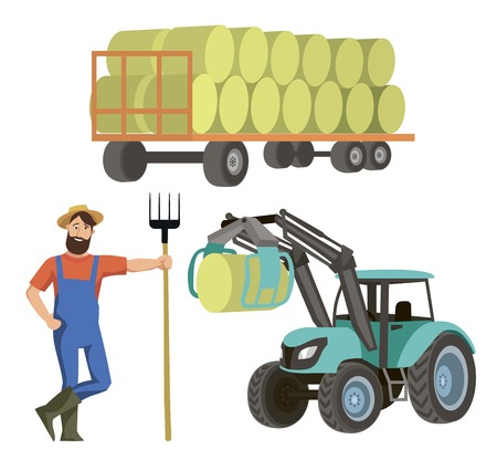 the farmer harvests hay with a tractor with a loader. color illustration on white background