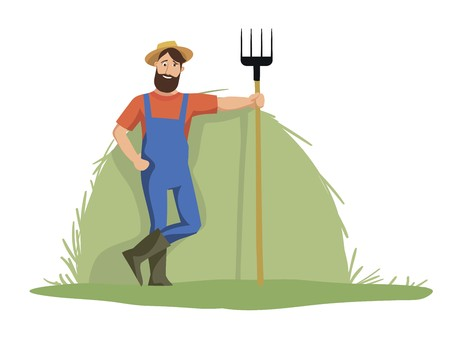 The Jolly farmer is on the background of haystack and holding a pitchfork Ilustrace