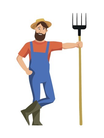 Cheerful farmer stands and leans on a pitchfork on a white background