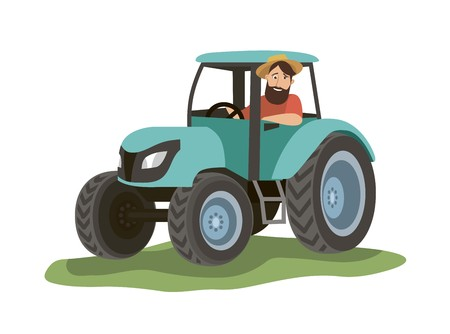 the farmer sits in a blue tractor and looks out the window. color illustration on white background