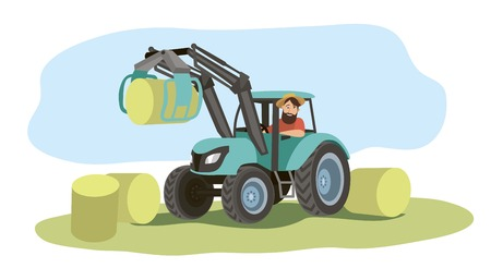 The farmer drives a tractor and loads bales of hay Illustration