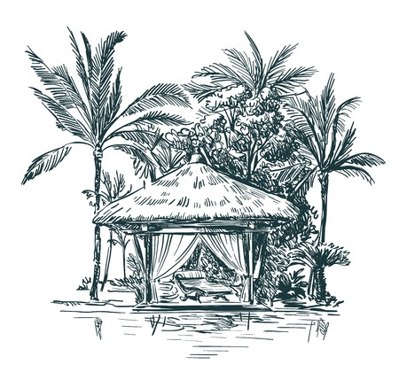 the picture gazebo with thatched roofs among the palm trees