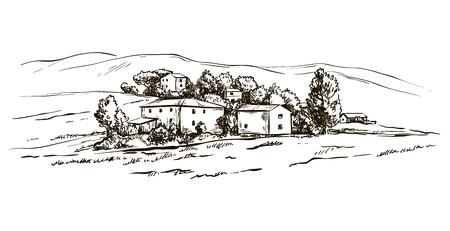 disegno del paesaggio della provincia italiana della Toscana