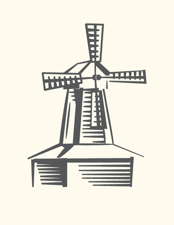 drawing of a stylized windmill on a light background Ilustração