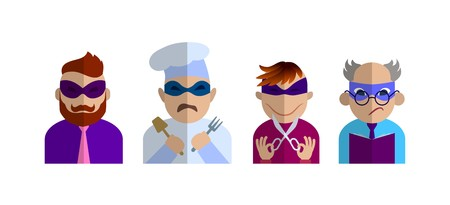 characters of different professions in masks of superheroes