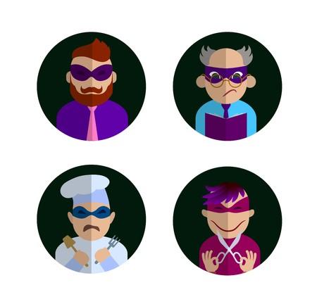 characters in masks of superheroes in the black circle