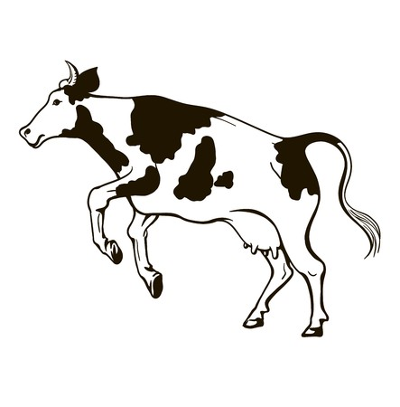 black and white illustration of a jumping cow